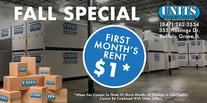 UNITS Storage first month for a dollar